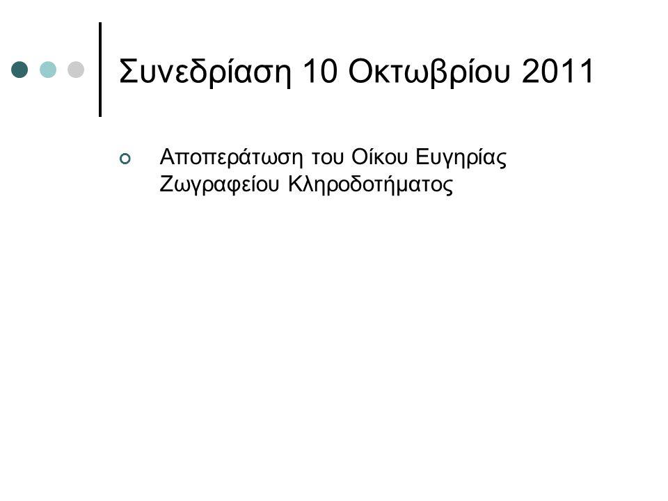 Συνεδρίαση 10 Οκτωβρίου 2011 Αποπεράτωση του Οίκου Ευγηρίας Ζωγραφείου Κληροδοτήματος