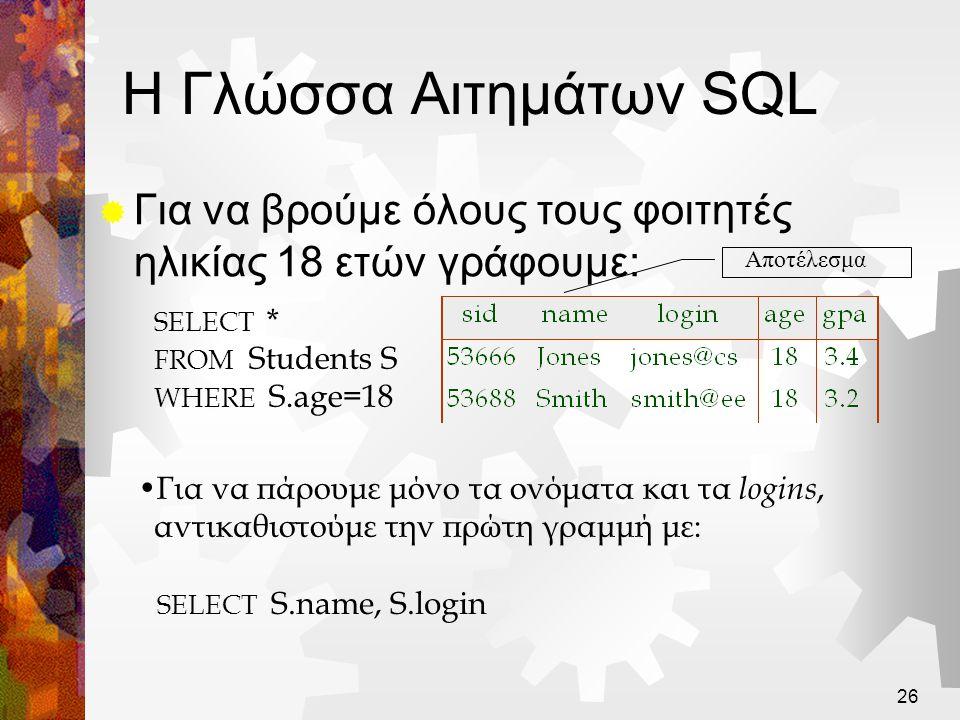 27 Δημιουργία Σχέσεων με την SQL  Δημιουργεί τη σχέση Students.