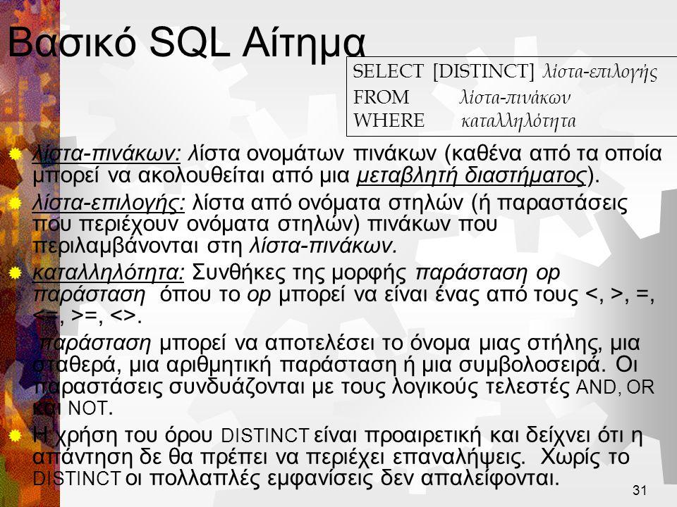 32 Ιδεατή Στρατηγική Υπολογισμού  Η σημασιολογία ενός αιτήματος SQL ορίζεται με βάση την ακόλουθη ιδεατή στρατηγική υπολογισμού :  Υπολογισμός του καρτεσιανού γινομένου των πινάκων στη λίστα-πινάκων.