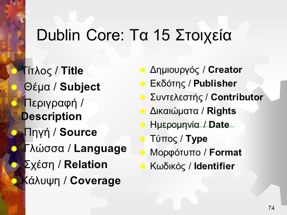 75 Τα Στοιχεία Μεταδεδομένων του Dublin Core  Διεπιστημονική ομοφωνία σε απλά σύνολα στοιχείων για ανακάλυψη πόρων  15 στοιχεία (πεδία μεταδεδομένων)  όλα προαιρετικά  όλα επαναλαμβανόμενα  Δεν προορίζεται για περιγραφή περίπλοκων πόρων  Η αρχική ιδέα των «απλών αντικειμένων – σαν τεκμήρια»  Απλότητα στη σημασιολογία, ευκολία χρήσης  Παρέχει βασική «σημασιολογική διαλειτουργικότητα»  Μεταξύ επιστημονικών περιοχών, μεταξύ γλωσσών  Δεν παρέχει λεπτομερείς κανόνες καταλογογράφησης  Επιτρέπει επεκτασιμότητα – σε άλλες κατηγορίες πόρων
