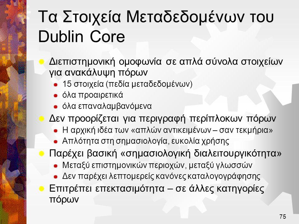 76 Χρήση του Dublin Core  Είναι βασικός πυρήνας στοιχείων  Δεν είναι υποκατάστατο σε πλουσιότερα περιγραφικά πρότυπα  Παρέχει 15 «παράθυρα» από πλουσιότερη περιγραφή πόρων  Φανερώνει πλούσιες περιγραφές σε απλή μορφή  Σημασιολογικά σταυροδρόμια, αντιστοιχίσεις σε υπάρχοντα δεδομένα