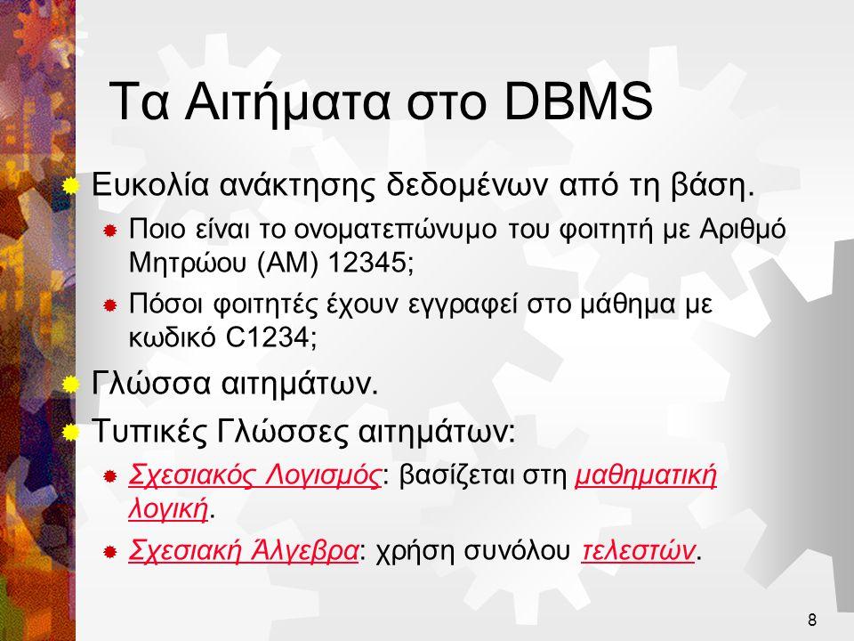 9 Επισκόπηση του Σχεδιασμού ΒΔ  Ανάλυση Απαιτήσεων.