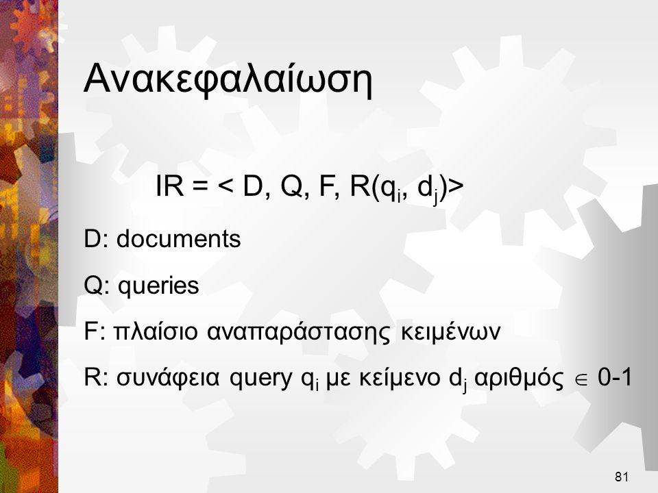 81 Ανακεφαλαίωση IR = D: documents Q: queries F: πλαίσιο αναπαράστασης κειμένων R: συνάφεια query q i με κείμενο d j αριθμός  0-1
