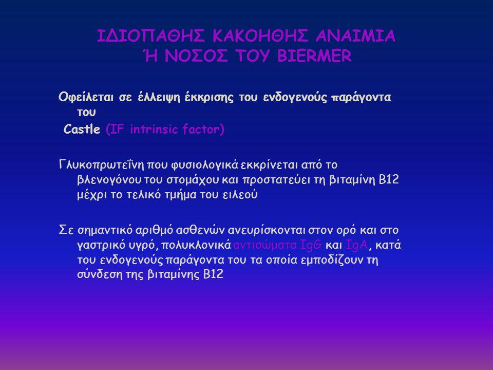 ΙΔΙΟΠΑΘΗΣ ΚΑΚΟΗΘΗΣ ΑΝΑΙΜΙΑ Ή ΝΟΣΟΣ ΤΟΥ BIERMER Οφείλεται σε έλλειψη έκκρισης του ενδογενούς παράγοντα του Castle (IF intrinsic factor) Γλυκοπρωτεΐνη π