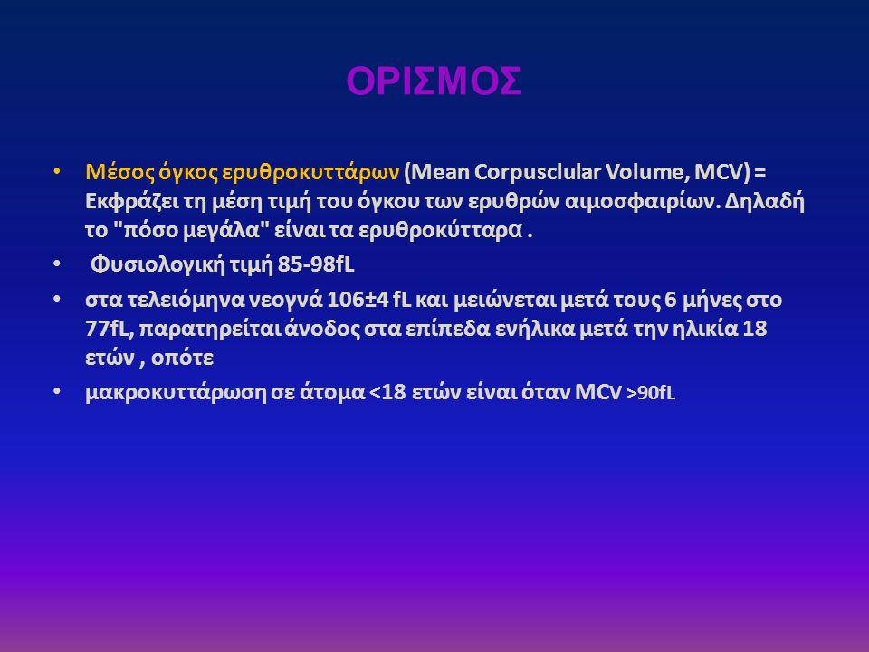 ΟΡΙΣΜΟΣ • Μέσος όγκος ερυθροκυττάρων (Mean Corpusclular Volume, MCV) = Εκφράζει τη μέση τιμή του όγκου των ερυθρών αιμοσφαιρίων. Δηλαδή το