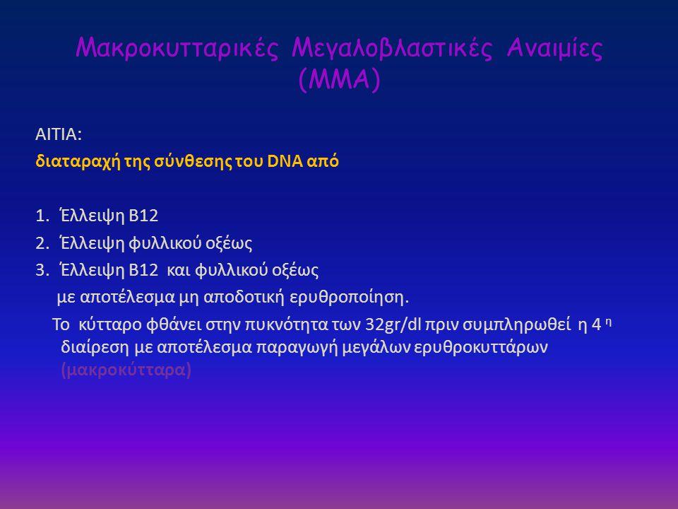 Μακροκυτταρικές Μεγαλοβλαστικές Αναιμίες (ΜΜΑ) ΑΙΤΙΑ: διαταραχή της σύνθεσης του DNA από 1.Έλλειψη Β12 2.Έλλειψη φυλλικού οξέως 3.Έλλειψη Β12 και φυλλ