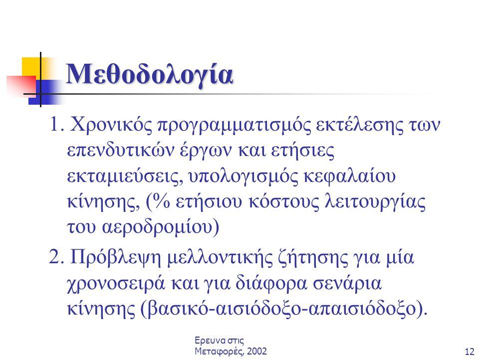 Ερευνα στις Μεταφορές, 200212 Μεθοδολογία 1. Χρονικός προγραμματισμός εκτέλεσης των επενδυτικών έργων και ετήσιες εκταμιεύσεις, υπολογισμός κεφαλαίου
