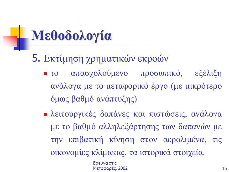 Ερευνα στις Μεταφορές, 200215 Μεθοδολογία 5. Εκτίμηση χρηματικών εκροών  το απασχολούμενο προσωπικό, εξέλιξη ανάλογα με το μεταφορικό έργο (με μικρότ