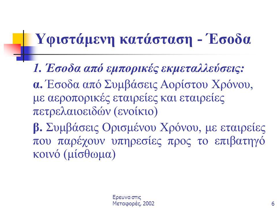Ερευνα στις Μεταφορές, 20026 Υφιστάμενη κατάσταση - Έσοδα 1. Έσοδα από εμπορικές εκμεταλλεύσεις: α. Έσοδα από Συμβάσεις Αορίστου Χρόνου, με αεροπορικέ