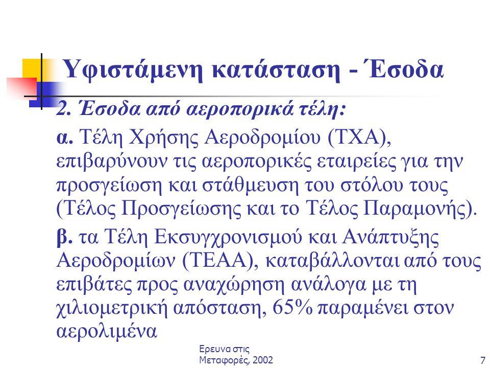 Ερευνα στις Μεταφορές, 20027 Υφιστάμενη κατάσταση - Έσοδα 2. Έσοδα από αεροπορικά τέλη: α. Τέλη Χρήσης Αεροδρομίου (ΤΧΑ), επιβαρύνουν τις αεροπορικές