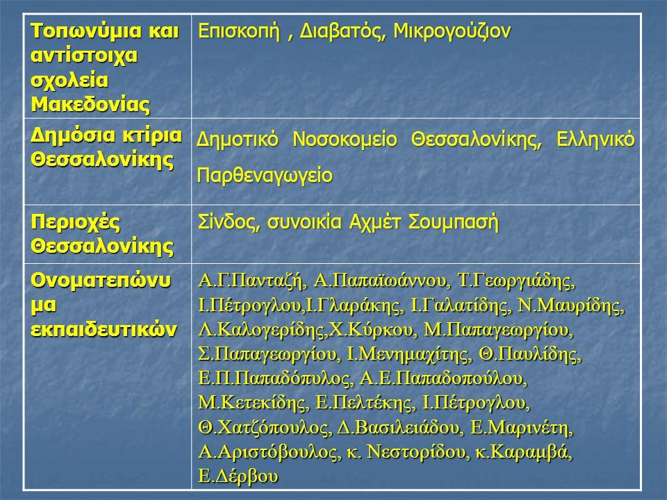 Τοπωνύμια και αντίστοιχα σχολεία Μακεδονίας Επισκοπή, Διαβατός, Μικρογούζιον Δημόσια κτίρια Θεσσαλονίκης Δημοτικό Νοσοκομείο Θεσσαλονίκης, Ελληνικό Παρθεναγωγείο Περιοχές Θεσσαλονίκης Σίνδος, συνοικία Αχμέτ Σουμπασή Ονοματεπώνυ μα εκπαιδευτικών Α.Γ.Πανταζή, Α.Παπαϊωάννου, Τ.Γεωργιάδης, Ι.Πέτρογλου,Ι.Γλαράκης, Ι.Γαλατίδης, Ν.Μαυρίδης, Λ.Καλογερίδης,Χ.Κύρκου, Μ.Παπαγεωργίου, Σ.Παπαγεωργίου, Ι.Μενημαχίτης, Θ.Παυλίδης, Ε.Π.Παπαδόπυλος, Α.Ε.Παπαδοπούλου, Μ.Κετεκίδης, Ε.Πελτέκης, Ι.Πέτρογλου, Θ.Χατζόπουλος, Δ.Βασιλειάδου, Ε.Μαρινέτη, Α.Αριστόβουλος, κ.