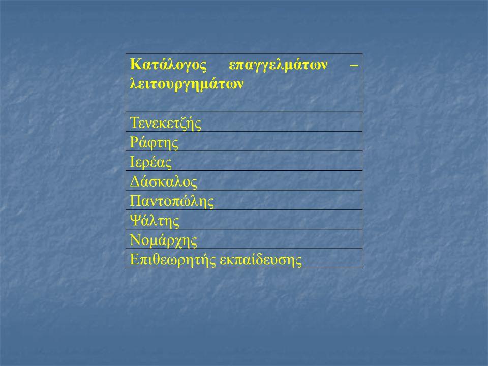 Κατάλογος επαγγελμάτων – λειτουργημάτων Τενεκετζής Ράφτης Ιερέας Δάσκαλος Παντοπώλης Ψάλτης Νομάρχης Επιθεωρητής εκπαίδευσης
