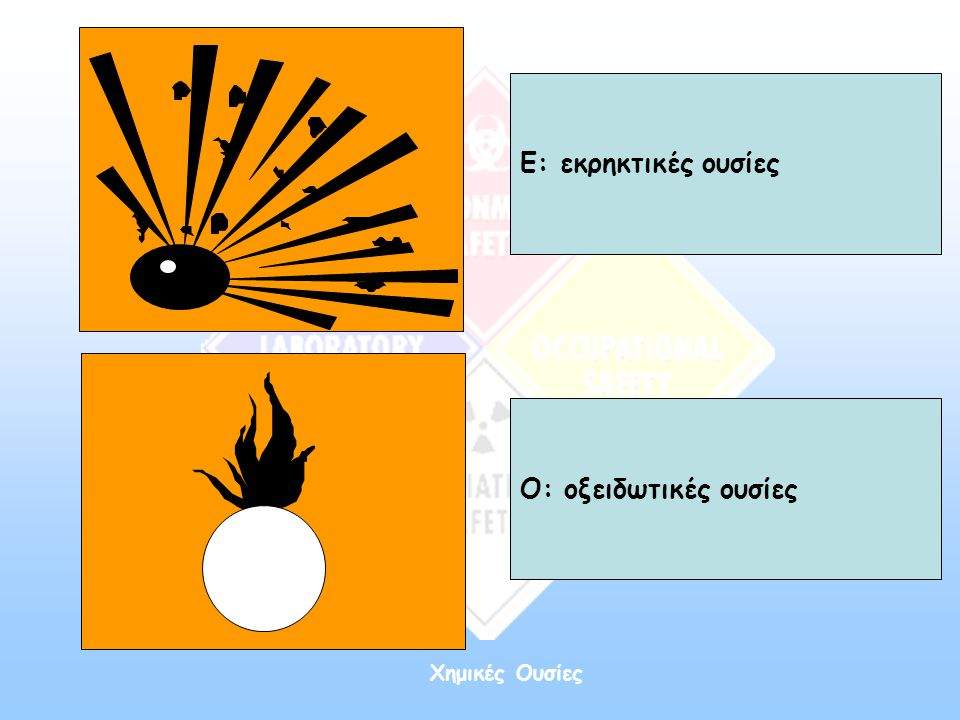 Χημικές Ουσίες Ε: εκρηκτικές ουσίες Ο: οξειδωτικές ουσίες