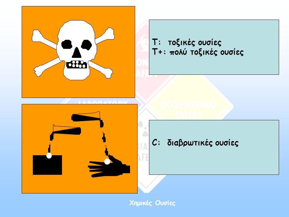 Χημικές Ουσίες Τ: τοξικές ουσίες Τ+: πολύ τοξικές ουσίες C: διαβρωτικές ουσίες