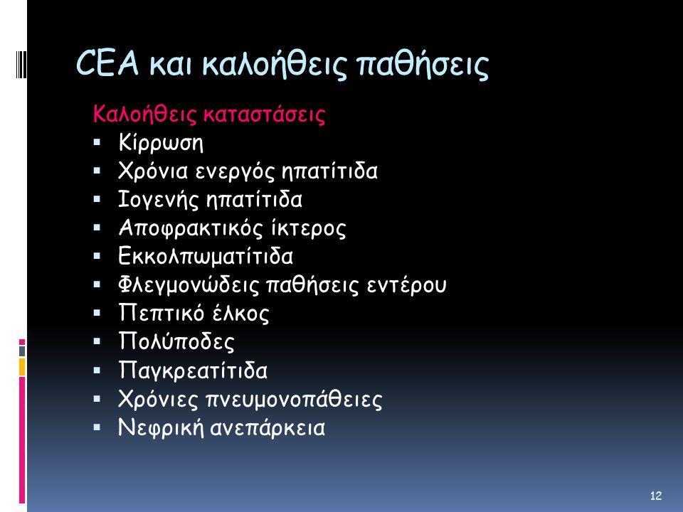 CEA και καλοήθεις παθήσεις Καλοήθεις καταστάσεις  Κίρρωση  Χρόνια ενεργός ηπατίτιδα  Ιογενής ηπατίτιδα  Αποφρακτικός ίκτερος  Εκκολπωματίτιδα  Φλεγμονώδεις παθήσεις εντέρου  Πεπτικό έλκος  Πολύποδες  Παγκρεατίτιδα  Χρόνιες πνευμονοπάθειες  Νεφρική ανεπάρκεια 12