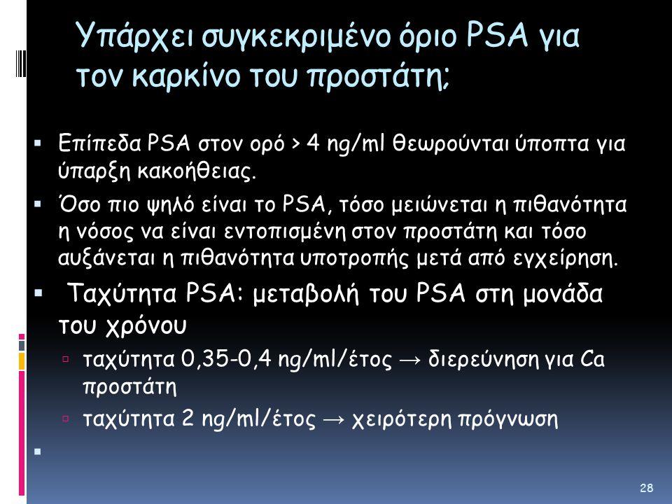 Υπάρχει συγκεκριμένο όριο PSA για τον καρκίνο του προστάτη;  Επίπεδα PSA στον ορό > 4 ng/ml θεωρούνται ύποπτα για ύπαρξη κακοήθειας.