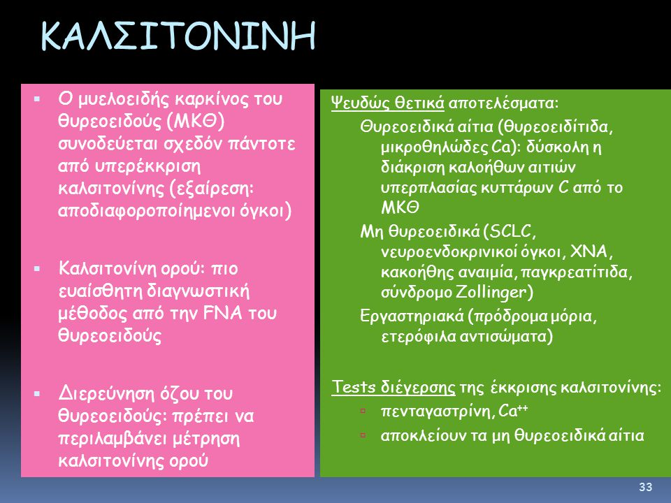 ΚΑΛΣΙΤΟΝΙΝΗ  Ο μυελοειδής καρκίνος του θυρεοειδούς (ΜΚΘ) συνοδεύεται σχεδόν πάντοτε από υπερέκκριση καλσιτονίνης (εξαίρεση: αποδιαφοροποίημενοι όγκοι)  Καλσιτονίνη ορού: πιο ευαίσθητη διαγνωστική μέθοδος από την FNA του θυρεοειδούς  Διερεύνηση όζου του θυρεοειδούς: πρέπει να περιλαμβάνει μέτρηση καλσιτονίνης ορού Ψευδώς θετικά αποτελέσματα: Θυρεοειδικά αίτια (θυρεοειδίτιδα, μικροθηλώδες Ca): δύσκολη η διάκριση καλοήθων αιτιών υπερπλασίας κυττάρων C από το ΜΚΘ Μη θυρεοειδικά (SCLC, νευροενδοκρινικοί όγκοι, ΧΝΑ, κακοήθης αναιμία, παγκρεατίτιδα, σύνδρομο Zollinger) Εργαστηριακά (πρόδρομα μόρια, ετερόφιλα αντισώματα) Tests διέγερσης της έκκρισης καλσιτονίνης:  πενταγαστρίνη, Ca ++  αποκλείουν τα μη θυρεοειδικά αίτια 33