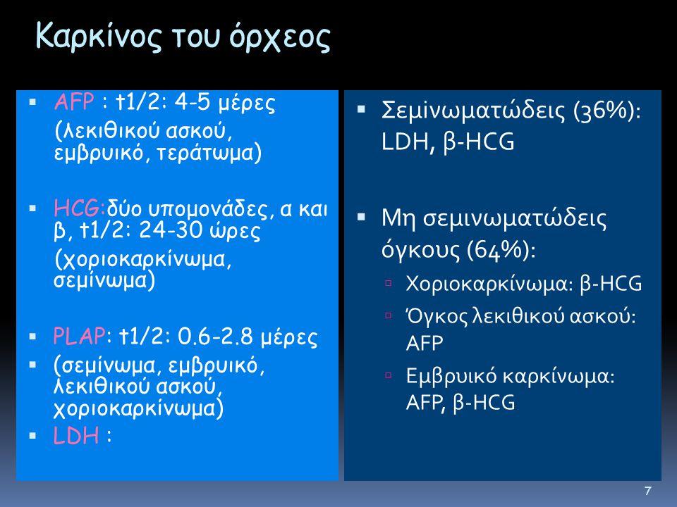 Kαρκίνος του όρχεος  AFP : t1/2: 4-5 μέρες (λεκιθικού ασκού, εμβρυικό, τεράτωμα)  HCG:δύο υπομονάδες, α και β, t1/2: 24-30 ώρες (χοριοκαρκίνωμα, σεμίνωμα)  PLAP: t1/2: 0.6-2.8 μέρες  (σεμίνωμα, εμβρυικό, λεκιθικού ασκού, χοριοκαρκίνωμα)  LDH :  Σεμiνωματώδεις (36%): LDH, β-HCG  Μη σεμινωματώδεις όγκους (64%):  Χοριοκαρκίνωμα: β-HCG  Όγκος λεκιθικού ασκού: AFP  Εμβρυικό καρκίνωμα: AFP, β-HCG 7