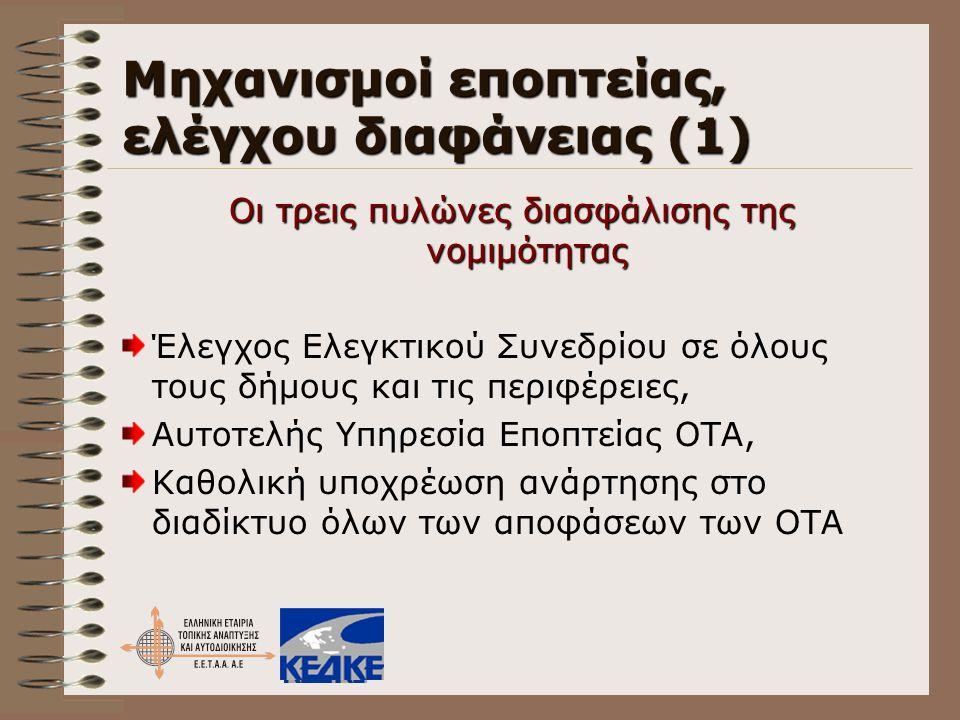 Μηχανισμοί εποπτείας, ελέγχου διαφάνειας (1) Οι τρεις πυλώνες διασφάλισης της νομιμότητας Έλεγχος Ελεγκτικού Συνεδρίου σε όλους τους δήμους και τις πε