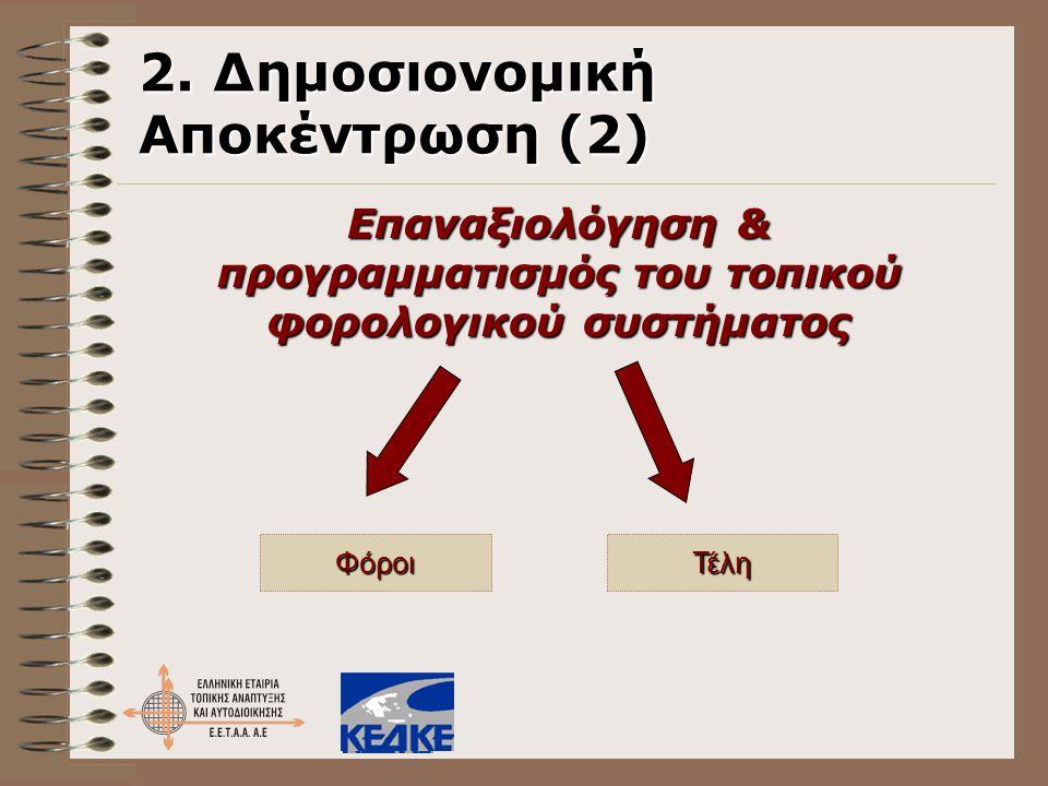 2. Δημοσιονομική Αποκέντρωση (2) Επαναξιολόγηση & προγραμματισμός του τοπικού φορολογικού συστήματος ΦόροιΤέλη