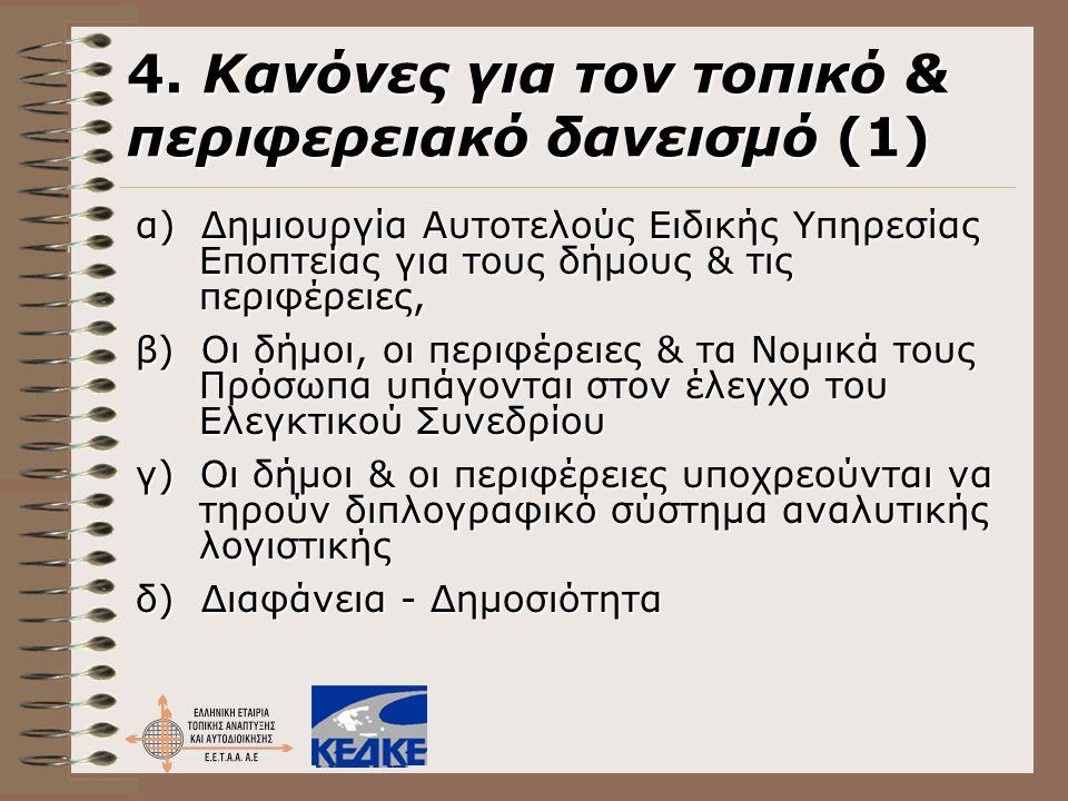 4. Κανόνες για τον τοπικό & περιφερειακό δανεισμό (1) α) Δημιουργία Αυτοτελούς Ειδικής Υπηρεσίας Εποπτείας για τους δήμους & τις περιφέρειες, β) Οι δή