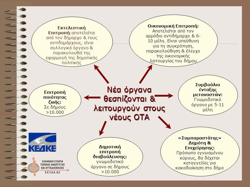 Νέα όργανα θεσπίζονται & λειτουργούν στους νέους ΟΤΑ Οικονομική Επιτροπή: Αποτελείται από τον αρμόδιο αντιδήμαρχο & 6- 10 μέλη. Είναι υπεύθυνη για τη
