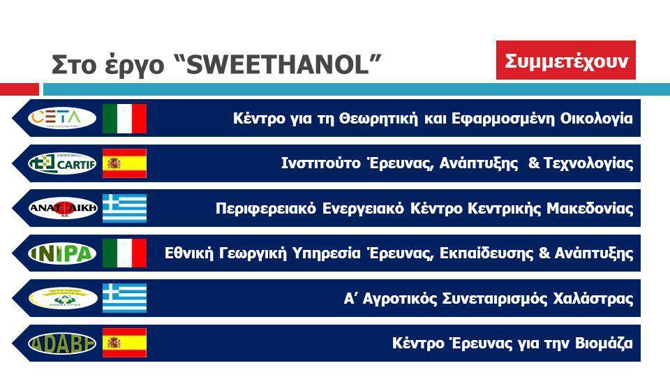 """Στο έργο """"SWEETHANOL"""" Κέντρο για τη Θεωρητική και Εφαρμοσμένη Οικολογία Ινστιτούτο Έρευνας, Ανάπτυξης & Τεχνολογίας Περιφερειακό Ενεργειακό Κέντρο Κεν"""