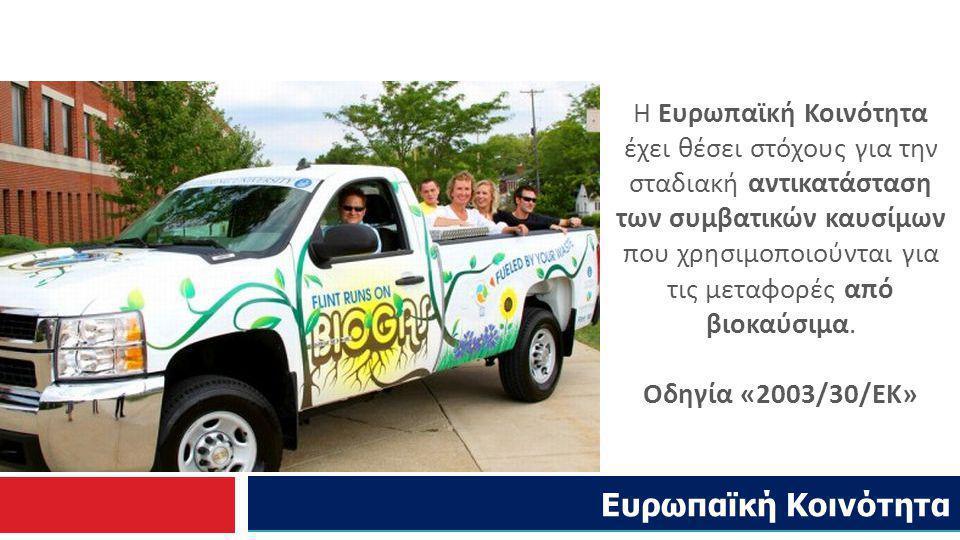 Ελληνική Νομοθεσία: Σύμφωνα με την ευρωπαϊκή οδηγία 2003/30/ΕΚ το ποσοστό αντικατάστασης βενζίνης και πετρελαίου κίνησης που θα διατίθεται για χρήση στις μεταφορές, με βιοκαύσιμα θα πρέπει να είναι: Η Ελλάδα εναρμόνισε την εθνική της νομοθεσία με τον Νόμο 3423/05 θεσπίζοντας ετήσιες ποσότητες παραγωγής βιοκαυσίμων από ελληνικά εργοστάσια.