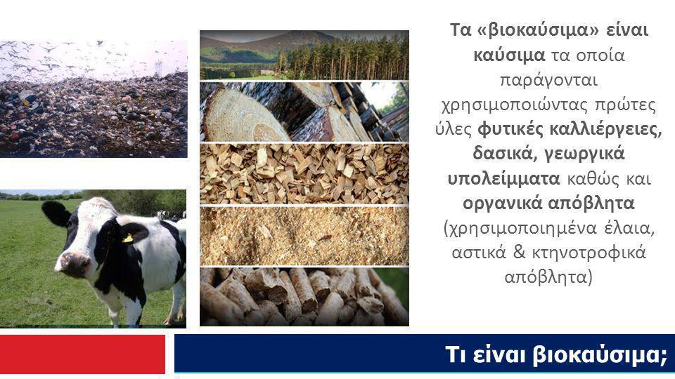 Τι είναι βιοκαύσιμα; Τα «βιοκαύσιμα» είναι καύσιμα τα οποία παράγονται χρησιμοποιώντας πρώτες ύλες φυτικές καλλιέργειες, δασικά, γεωργικά υπολείμματα