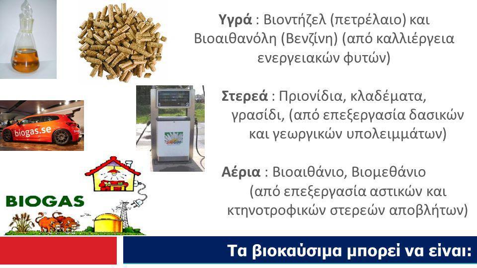 Τα βιοκαύσιμα μπορεί να είναι: Υγρά : Βιοντήζελ (πετρέλαιο) και Βιοαιθανόλη (Βενζίνη) (από καλλιέργεια ενεργειακών φυτών) Στερεά : Πριονίδια, κλαδέματ