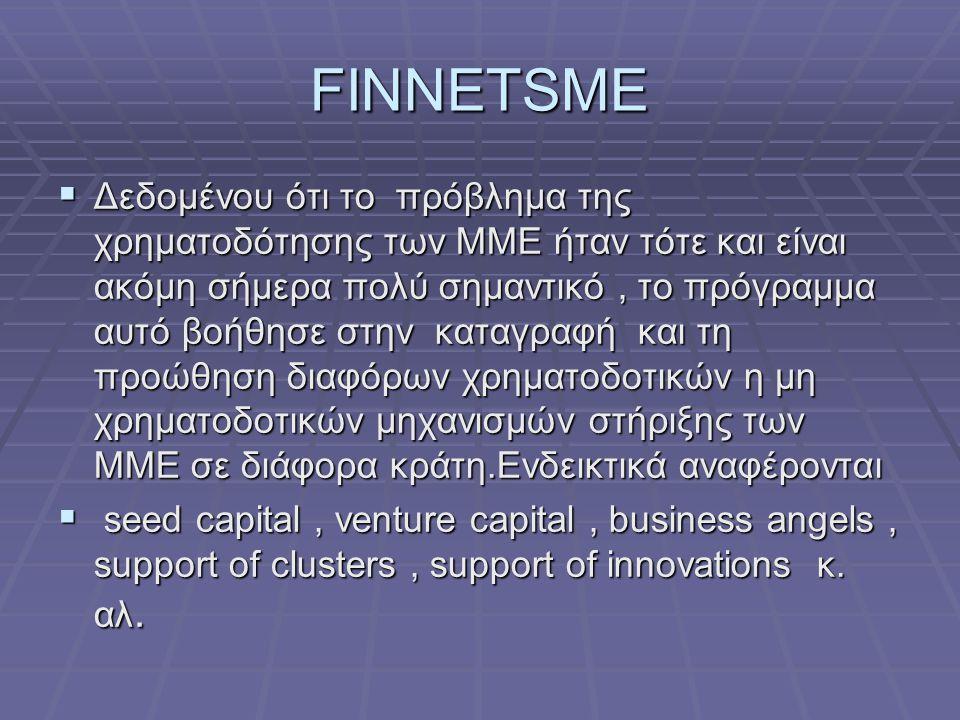 FINNETSME  Δεδομένου ότι το πρόβλημα της χρηματοδότησης των ΜΜΕ ήταν τότε και είναι ακόμη σήμερα πολύ σημαντικό, το πρόγραμμα αυτό βοήθησε στην καταγραφή και τη προώθηση διαφόρων χρηματοδοτικών η μη χρηματοδοτικών μηχανισμών στήριξης των ΜΜΕ σε διάφορα κράτη.Ενδεικτικά αναφέρονται  seed capital, venture capital, business angels, support of clusters, support of innovations κ.