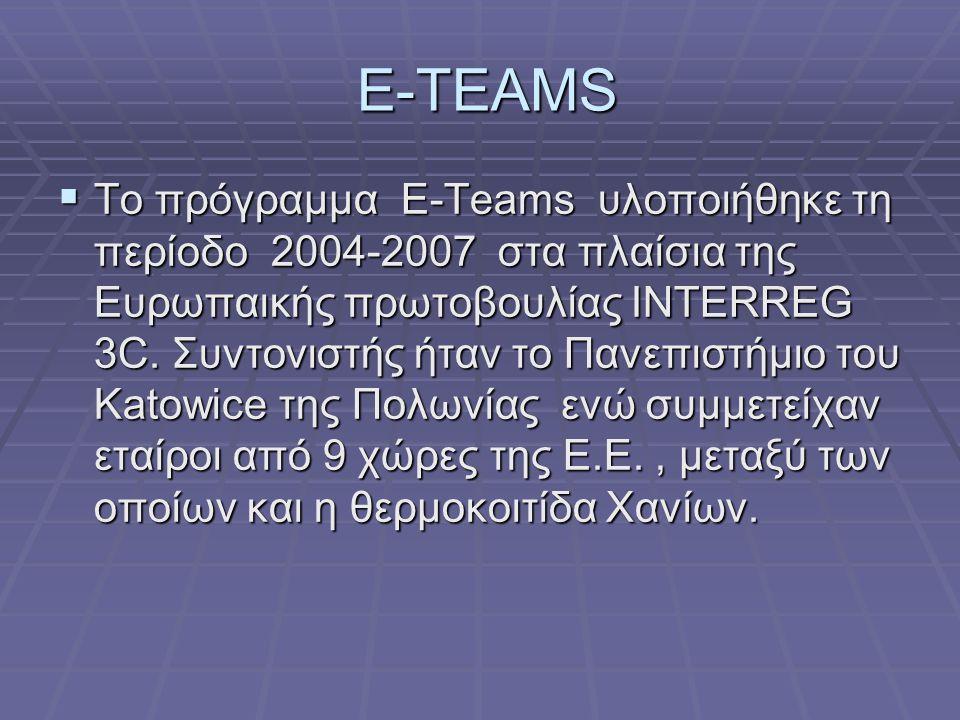 E-TEAMS E-TEAMS  Το πρόγραμμα Ε-Teams υλοποιήθηκε τη περίοδο 2004-2007 στα πλαίσια της Ευρωπαικής πρωτοβουλίας INTERREG 3C. Συντονιστής ήταν το Πανεπ