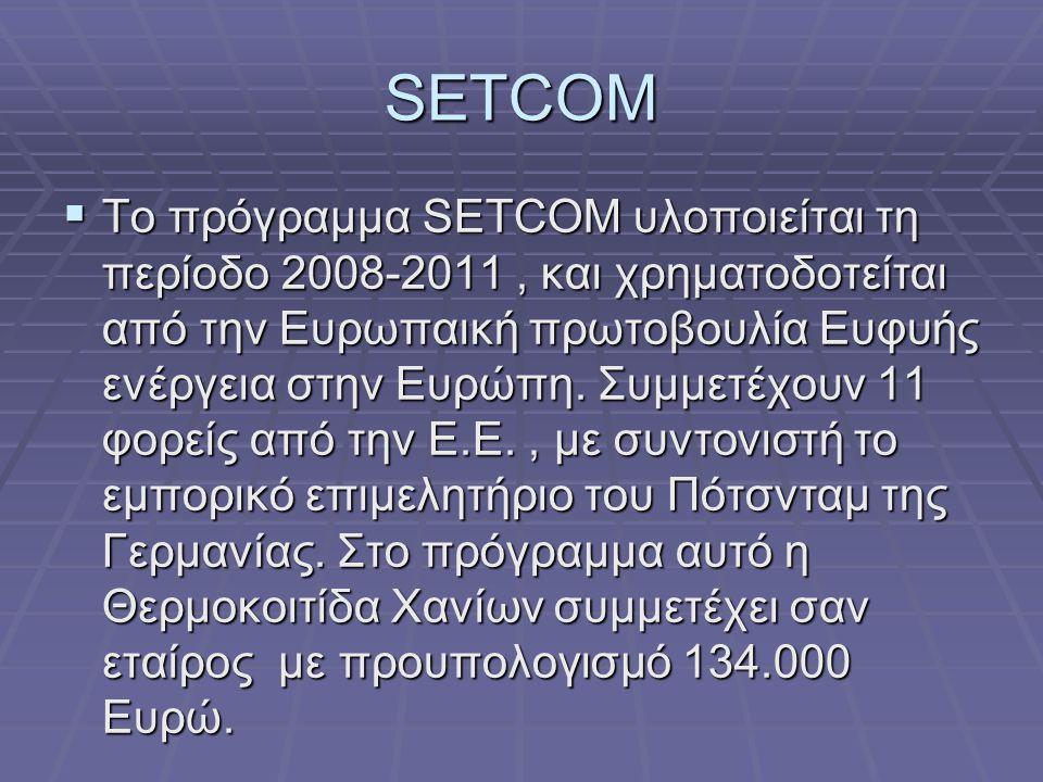 SETCOM  Το πρόγραμμα SETCOM υλοποιείται τη περίοδο 2008-2011, και χρηματοδοτείται από την Ευρωπαική πρωτοβουλία Ευφυής ενέργεια στην Ευρώπη.