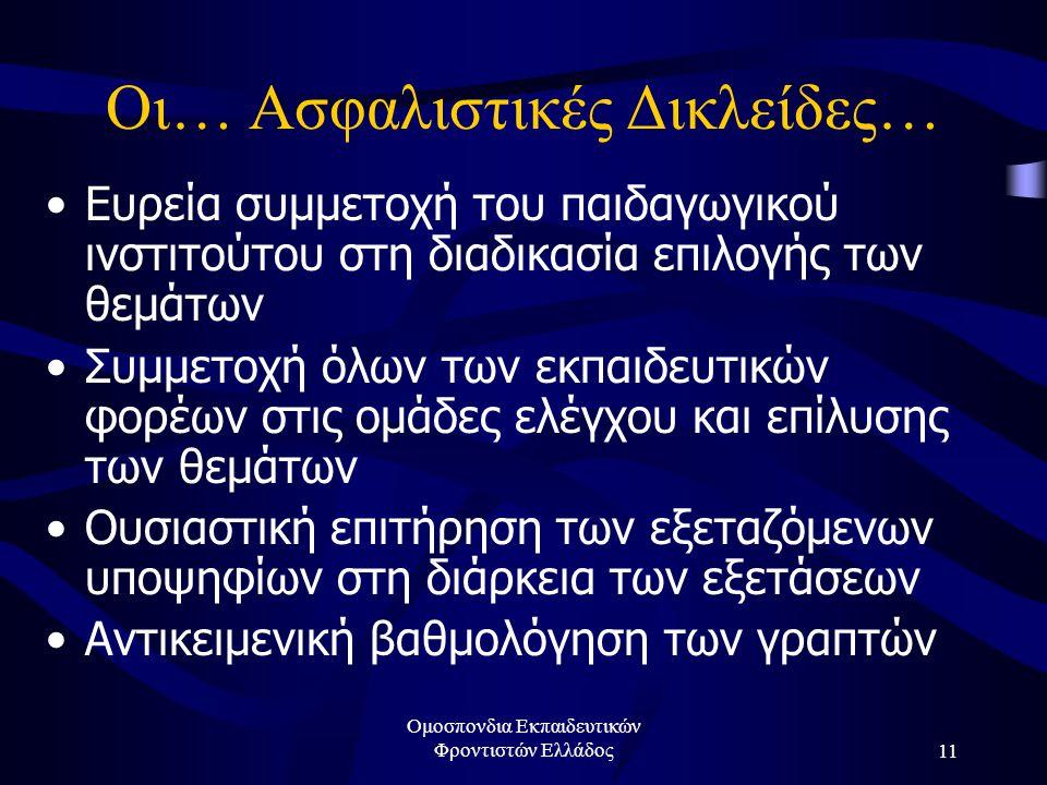 Ομοσπονδια Εκπαιδευτικών Φροντιστών Ελλάδος11 Οι… Ασφαλιστικές Δικλείδες… •Ευρεία συμμετοχή του παιδαγωγικού ινστιτούτου στη διαδικασία επιλογής των θ