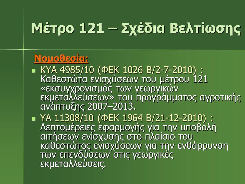 Μέτρο 121 – Σχέδια Βελτίωσης Νομοθεσία: Νομοθεσία:  ΚΥΑ 4985/10 (ΦΕΚ 1026 Β/2-7-2010) : Καθεστώτα ενισχύσεων του μέτρου 121 «εκσυγχρονισμός των γεωργ