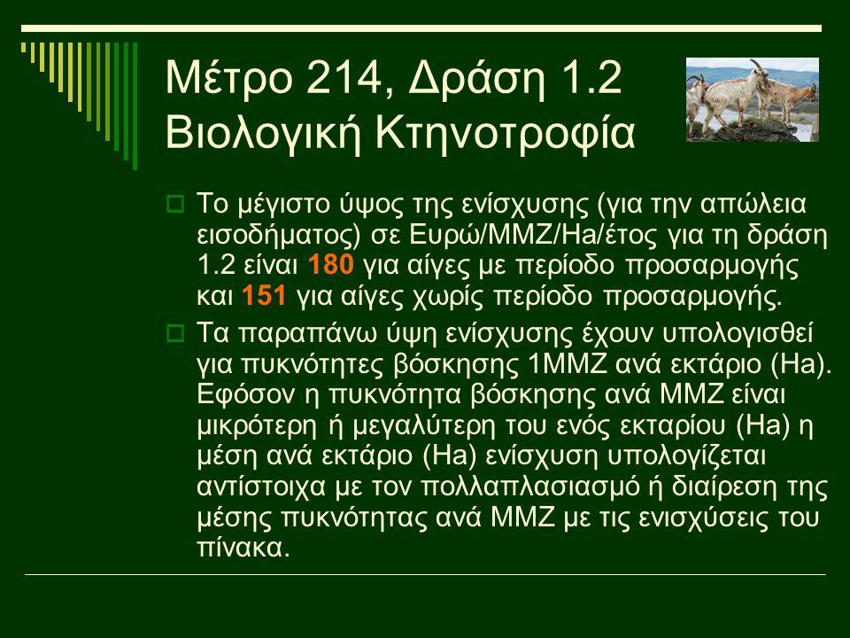Μέτρο 214, Δράση 1.2 Βιολογική Κτηνοτροφία  Το μέγιστο ύψος της ενίσχυσης (για την απώλεια εισοδήματος) σε Ευρώ/ΜΜΖ/Ηa/έτος για τη δράση 1.2 είναι 18