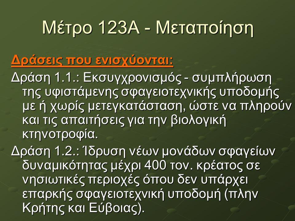 Μέτρο 123Α - Μεταποίηση Δράσεις που ενισχύονται: Δράση 1.1.: Εκσυγχρονισμός - συμπλήρωση της υφιστάμενης σφαγειοτεχνικής υποδομής με ή χωρίς μετεγκατά