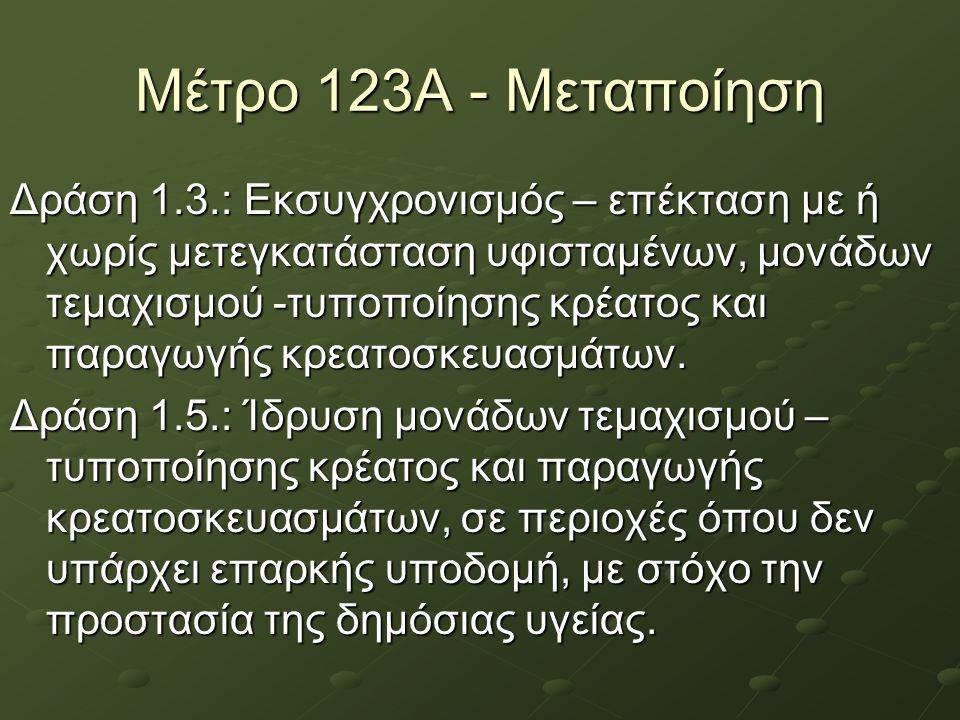Μέτρο 123Α - Μεταποίηση Δράση 1.3.: Εκσυγχρονισμός – επέκταση με ή χωρίς μετεγκατάσταση υφισταμένων, μονάδων τεμαχισμού -τυποποίησης κρέατος και παραγ