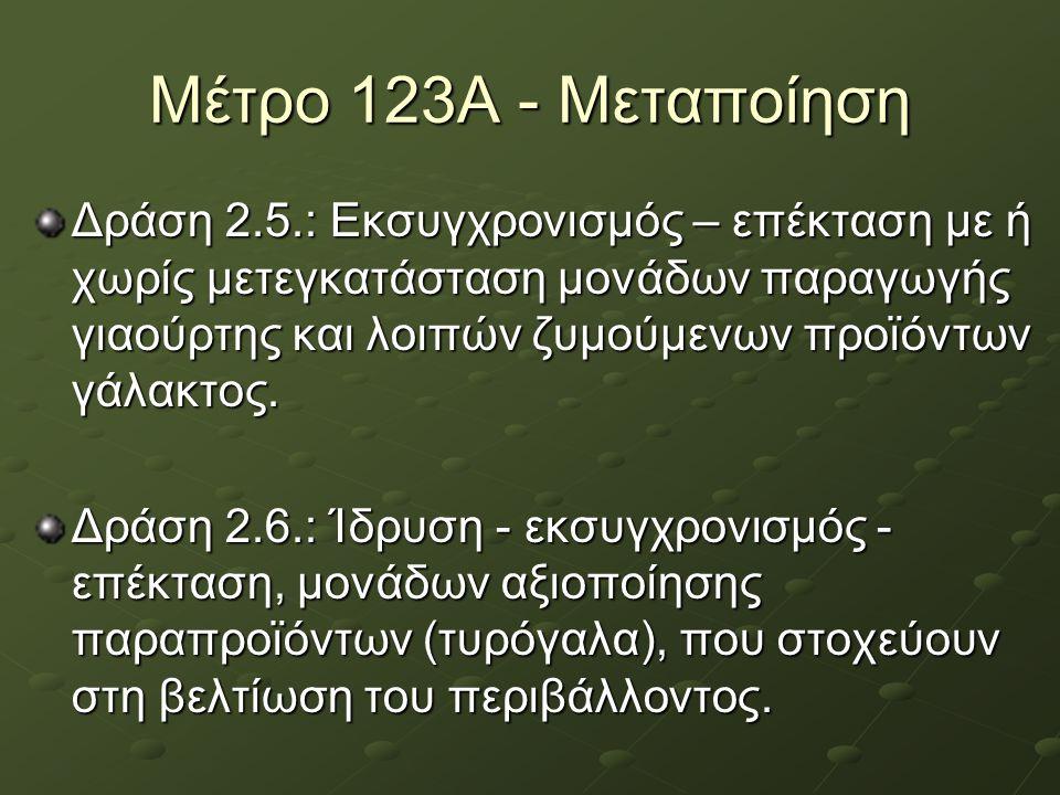 Μέτρο 123Α - Μεταποίηση Δράση 2.5.: Εκσυγχρονισμός – επέκταση με ή χωρίς μετεγκατάσταση μονάδων παραγωγής γιαούρτης και λοιπών ζυμούμενων προϊόντων γά