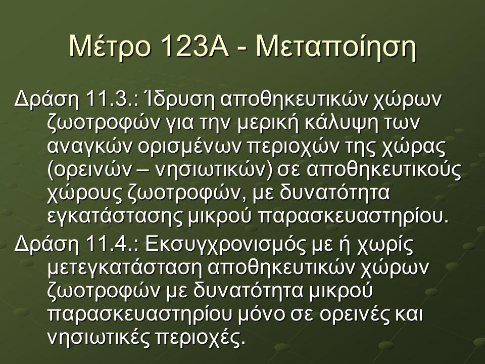 Μέτρο 123Α - Μεταποίηση Δράση 11.3.: Ίδρυση αποθηκευτικών χώρων ζωοτροφών για την μερική κάλυψη των αναγκών ορισμένων περιοχών της χώρας (ορεινών – νη