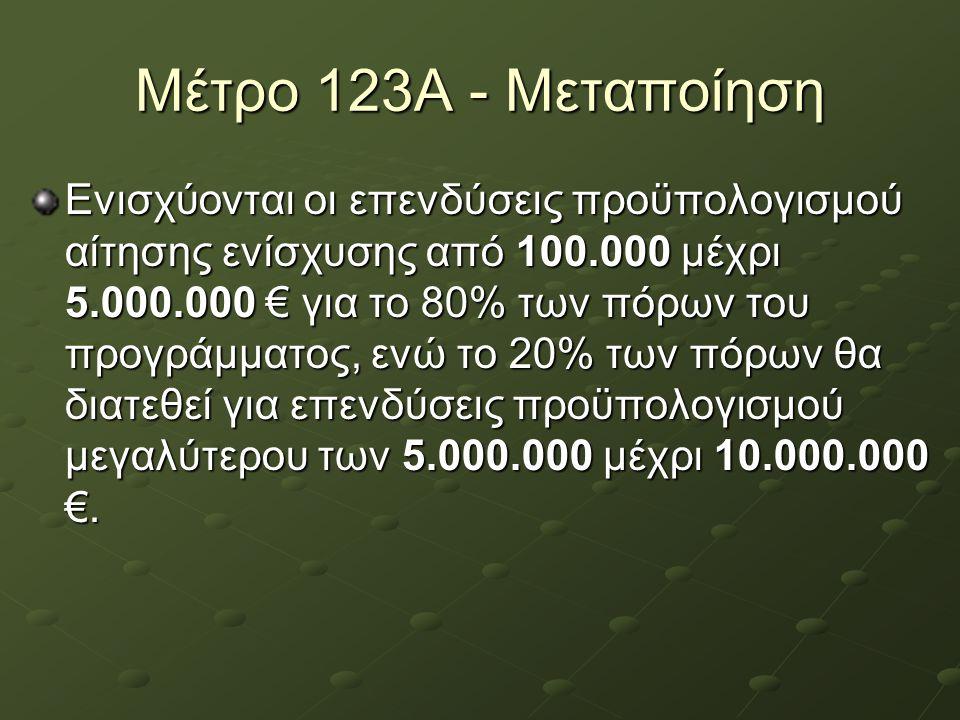 Μέτρο 123Α - Μεταποίηση Ενισχύονται οι επενδύσεις προϋπολογισμού αίτησης ενίσχυσης από 100.000 μέχρι 5.000.000 € για το 80% των πόρων του προγράμματος