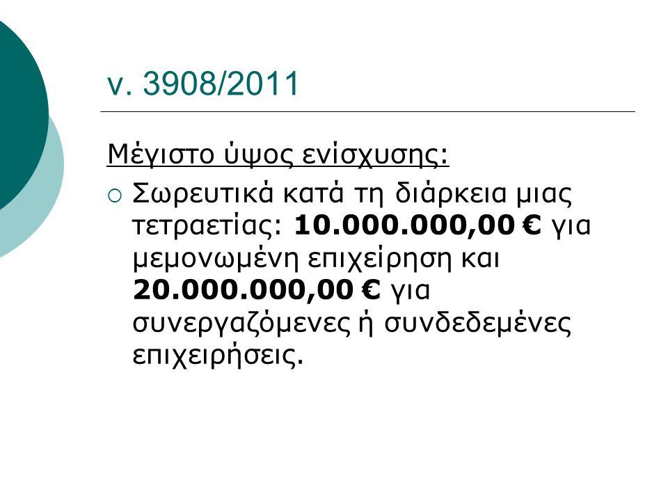 ν. 3908/2011 Μέγιστο ύψος ενίσχυσης:  Σωρευτικά κατά τη διάρκεια μιας τετραετίας: 10.000.000,00 € για μεμονωμένη επιχείρηση και 20.000.000,00 € για σ