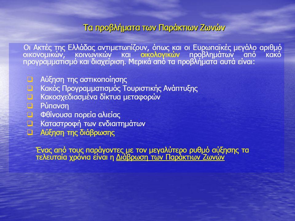 Οι Ακτές της Ελλάδας αντιμετωπίζουν, όπως και οι Ευρωπαϊκές μεγάλο αριθμό οικονομικών, κοινωνικών και οικολογικών προβλημάτων από κακό προγραμματισμό