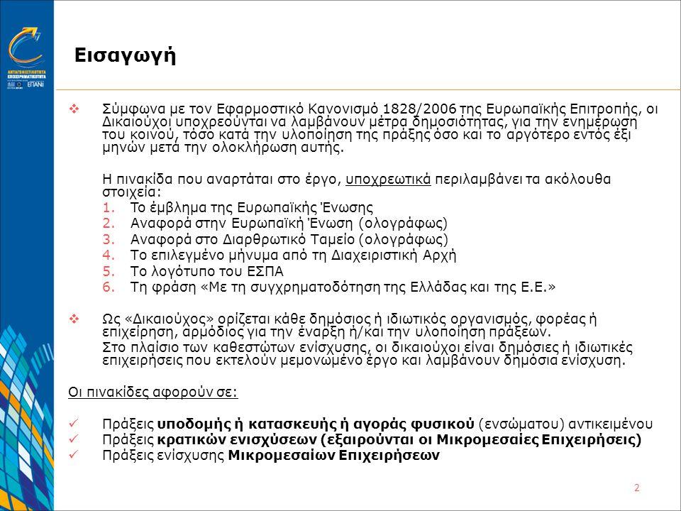 2 Εισαγωγή  Σύμφωνα με τον Εφαρμοστικό Κανονισμό 1828/2006 της Ευρωπαϊκής Επιτροπής, οι Δικαιούχοι υποχρεούνται να λαμβάνουν μέτρα δημοσιότητας, για