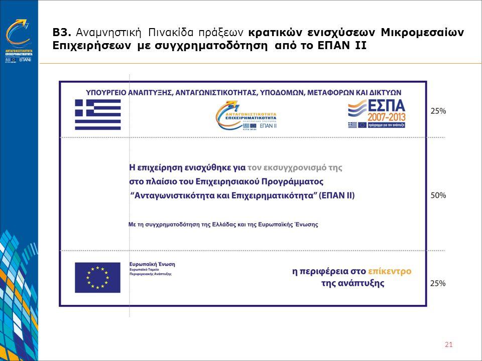 21 Β3. Αναμνηστική Πινακίδα πράξεων κρατικών ενισχύσεων Μικρομεσαίων Επιχειρήσεων με συγχρηματοδότηση από το ΕΠΑΝ ΙΙ