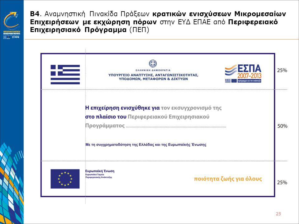 23 Β4. Αναμνηστική Πινακίδα Πράξεων κρατικών ενισχύσεων Μικρομεσαίων Επιχειρήσεων με εκχώρηση πόρων στην ΕΥΔ ΕΠΑΕ από Περιφερειακό Επιχειρησιακό Πρόγρ