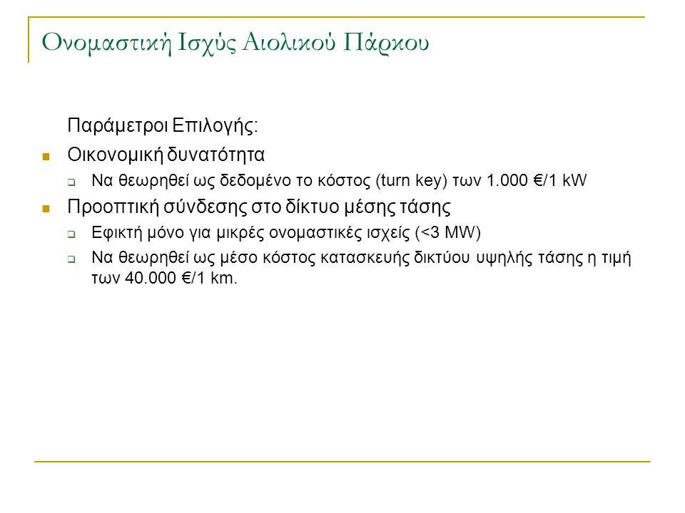 Ονομαστική Ισχύς Αιολικού Πάρκου Παράμετροι Επιλογής:  Οικονομική δυνατότητα  Να θεωρηθεί ως δεδομένο το κόστος (turn key) των 1.000 €/1 kW  Προοπτ