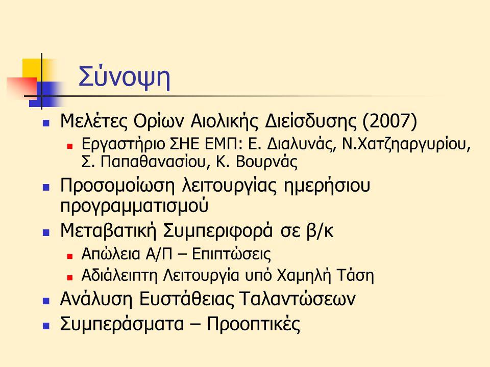 Σύνοψη  Μελέτες Ορίων Αιολικής Διείσδυσης (2007)  Εργαστήριο ΣΗΕ ΕΜΠ: Ε. Διαλυνάς, Ν.Χατζηαργυρίου, Σ. Παπαθανασίου, Κ. Βουρνάς  Προσομοίωση λειτου