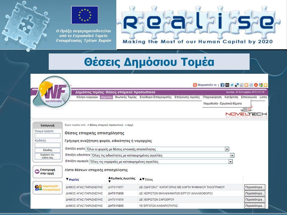 Θέσεις Δημόσιου Τομέα Η Πράξη συγχρηματοδοτείται από το Ευρωπαϊκό Ταμείο Ενσωμάτωσης Τρίτων Χωρών