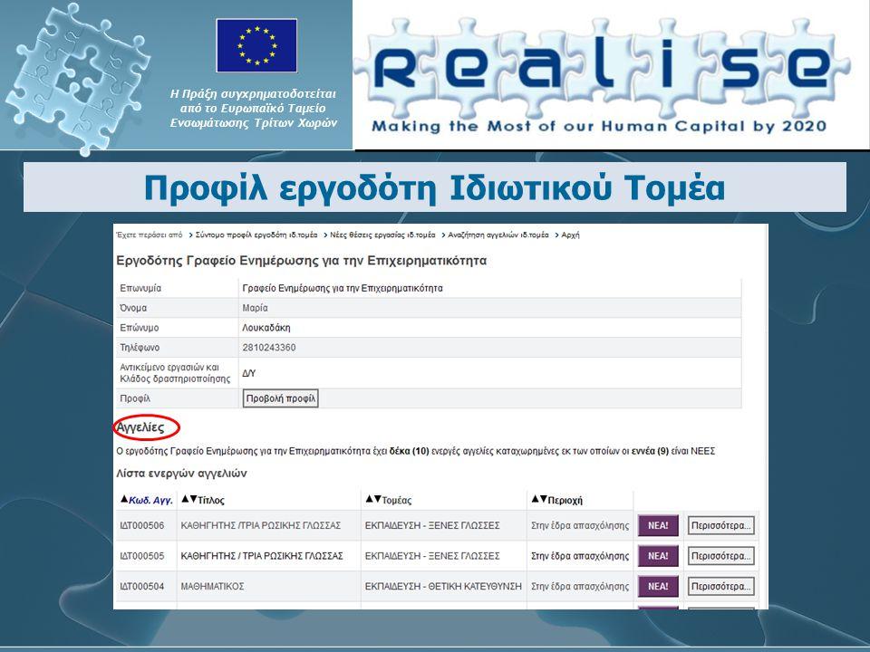 Προφίλ εργοδότη Ιδιωτικού Τομέα Η Πράξη συγχρηματοδοτείται από το Ευρωπαϊκό Ταμείο Ενσωμάτωσης Τρίτων Χωρών